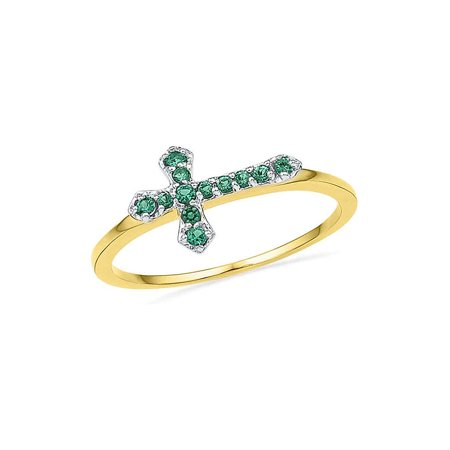 10kt Yellow Gold Womens Round Lab-Created Emerald Christian Cross Band Ring 1/8 Cttw - image 1 de 1