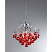 Athena' Red Crystal and Chrome 3-light Chandelier