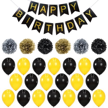Best Choice Products Birthday Party Balloon Decoration Supplies Set w/ Happy Birthday Banner, 6 Pom-Poms, 20 Balloons - Gold/Black - Black Barbie Party Decorations