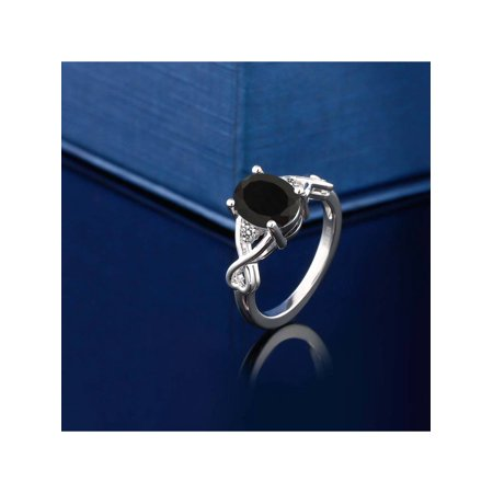 2.06 Ct Oval Black Onyx White Diamond 925 Sterling Silver Ring - image 1 de 4