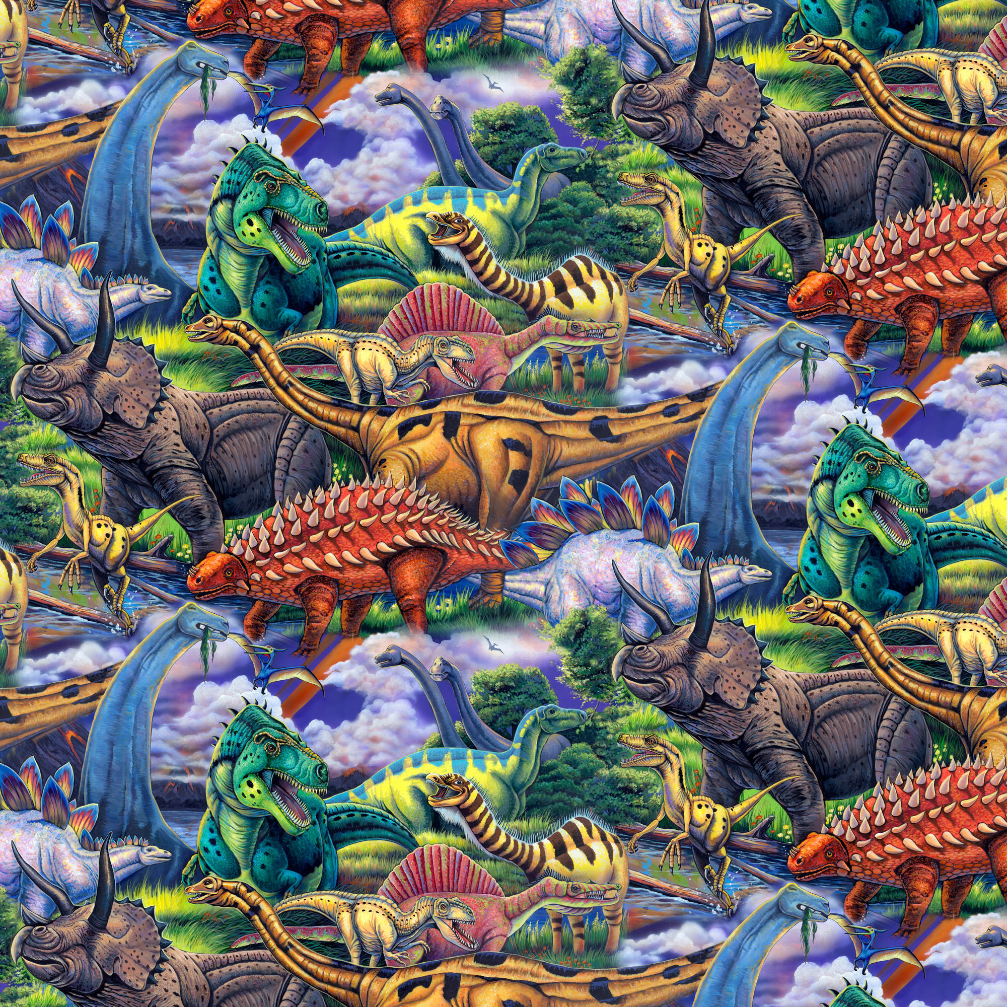 Age Of The Dinosaur Quilting Cotton Fabric By The Yard, 44""