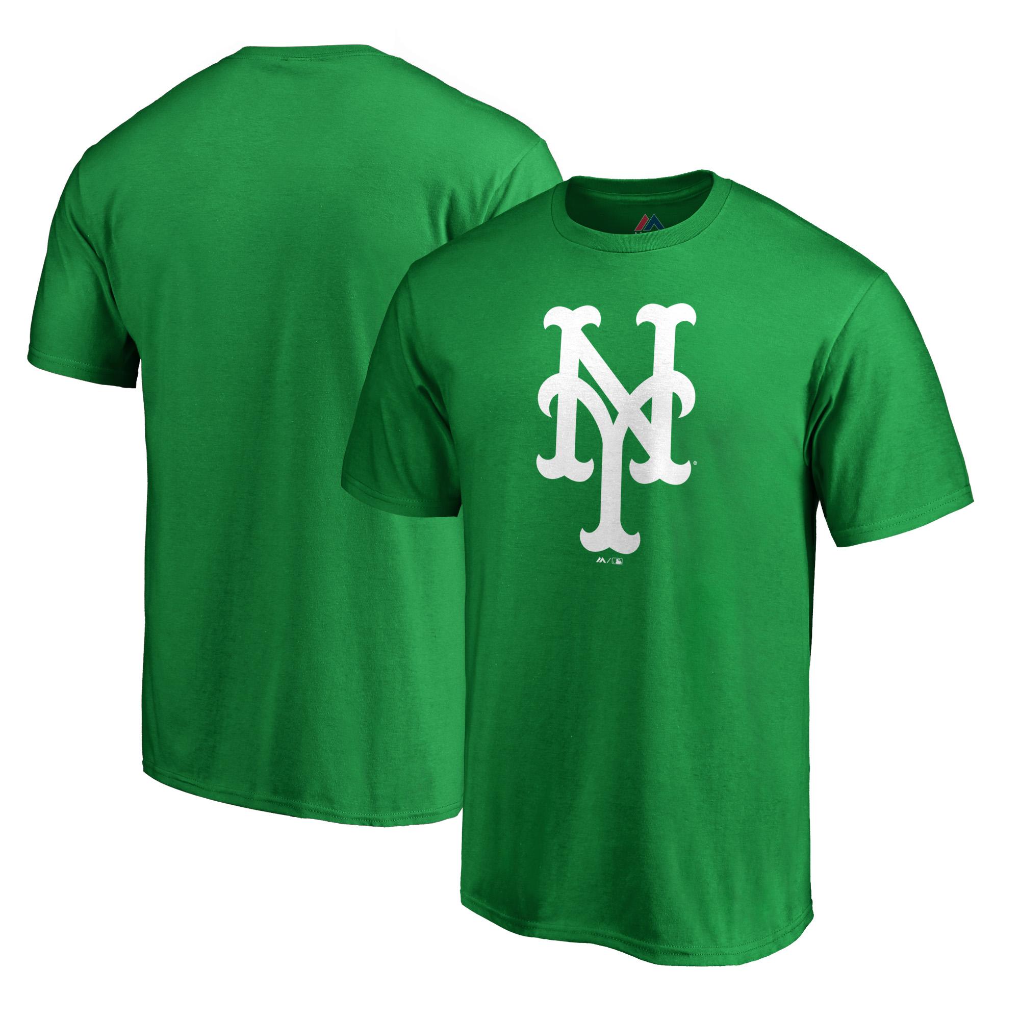 New York Mets Majestic 2019 St. Patrick's Day White Logo T-Shirt - Green