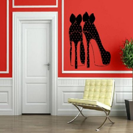 Polka Dot Heels Shoes - High Heel Fashion Shoes Polka Dots Bows Decor Wall MURAL Vinyl Art Sticker p504
