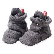 Zutano Booties Newborn Unisex Fleece Baby Booties For Baby Boys or Baby Girls Winter Slipper Socks  - Gray / Grey- 6 Months - Zutano Cozie Booties