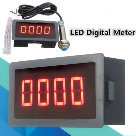 Red  4 Digital LED Tachometer RPM Speed Meter with Proximity Switch Sensor NPN - image 8 of 8