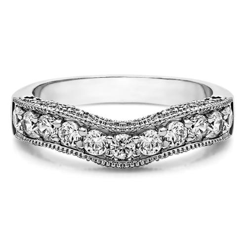 Sterling Silver Vintage Filigree & Milgrained Wedding Band mounted with Cubic Zirconia (1 Cts. twt) Sterling Silver, Size 5