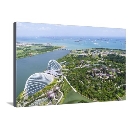 High View Overlooking Gardens by Bay Botanical Gardens with its Conservatories and Supertree Grove Stretched Canvas Print Wall Art By Fraser Hall