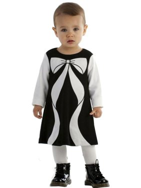c63db11b265a Product Image Biscotti Baby Girls Black Ivory Bow Color Block Christmas  Dress 12-24M