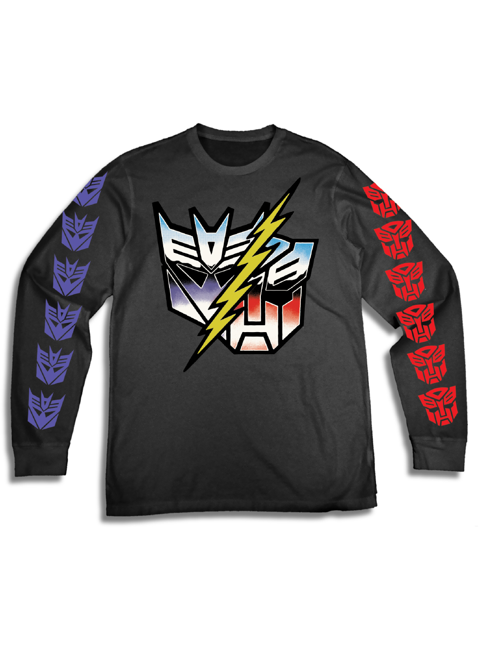 Transformers Men's Hasbro Autobots VS. Decepticons 90's Long Sleeve Graphic Tee with Sleeve Prints
