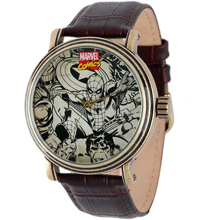 Marvel Spider-Man, Iron Man, Hulk, Captain America Men's Vintage Gold Antique Alloy Case Watch, Brown Croco Leather Strap