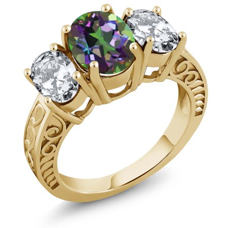 4.80 Ct Oval Green Mystic Topaz 18K Yellow Gold Plated Silver Ring