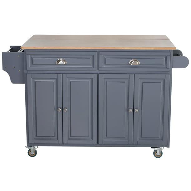 Homcom Wood Top Drop Leaf Rolling Kitchen Island Table Cart On Wheels Walmart Com Walmart Com