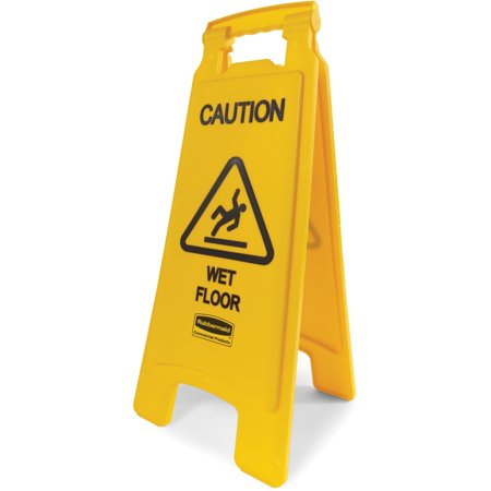 Rubbermaid FG611277YEL  Caution Wet Floor Floor Safety Sign, Eng