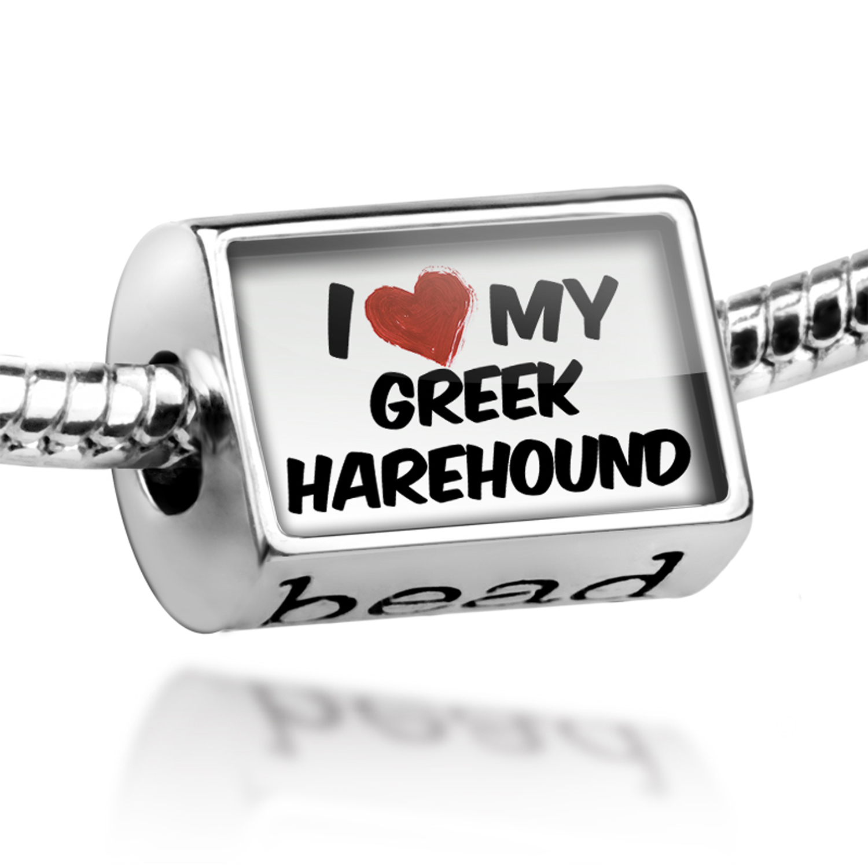 Bead I Love my Greek Harehound Dog from Greece Charm Fits All European Bracelets