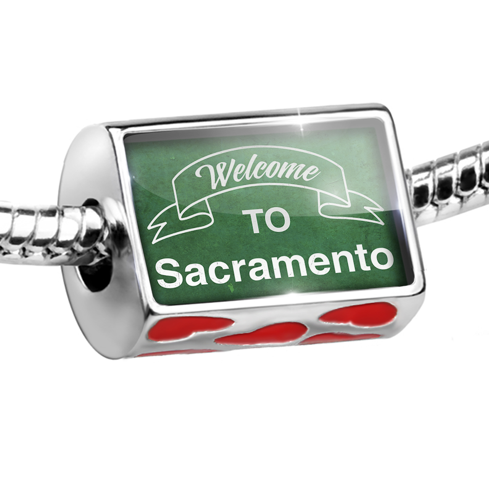 Bead Green Sign Welcome To Sacramento Charm Fits All European Bracelets
