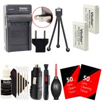 2x Vivitar NB-6L NB-6LH Battery & Charger + Mini Tripod Tripod + Lens Pen + Dust Blower + 100 Lens Tissue + Universal Screen Protector + 3pc Cleaning Kit