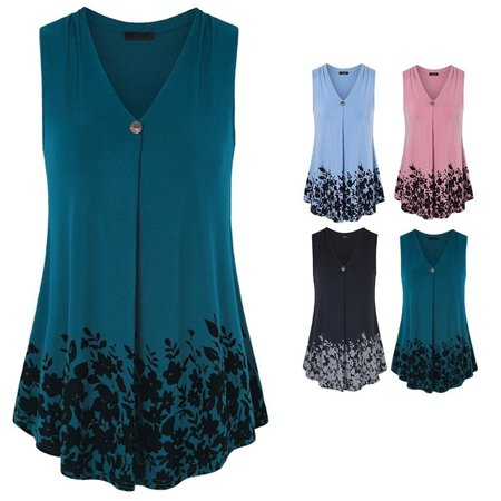 Womens Sleeveless Pleated V Neck A Line Floral Printed Casual Flow Summer Tunic Tops Plus Size Tank Tops