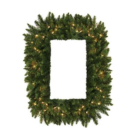 36 Pre Lit Camdon Fir Rectangular Artificial Christmas Wreath Clear Led Lights Walmart Com