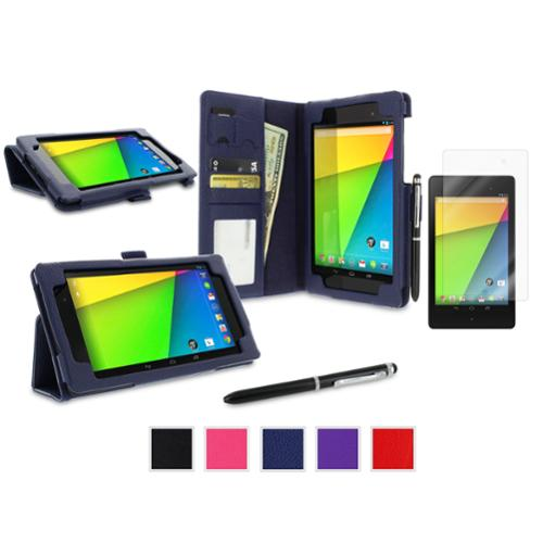 roocase Google Nexus 7 2013 Case Bundle - Dual Station Folio Stand Smart Cover (Supports Auto Sleep/Wake) with Ultra HD Clear Screen Protector for Nexus 7 FHD 2nd Gen, Navy