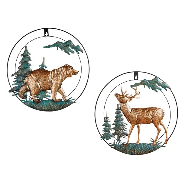 Northwoods Bear And Deer Metal Wall Art Decor Set Of 2 3 D Circular Pieces Copper Verdigris Colored Finish Hardware On Back For Easy Hanging Metal Walmart Com Walmart Com
