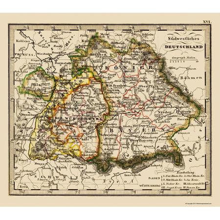 Map Of Old Germany.Old Germany Map Southwest Germany Stieler 1852 23 X 26 06