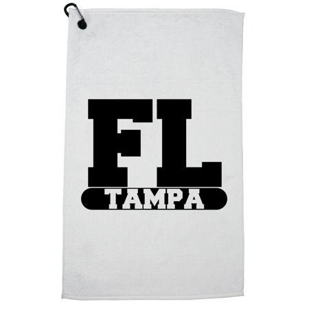 Tampa, Florida FL Classic City State Sign Golf Towel with Carabiner