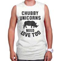 Brisco Brands Chubby Unicorns Need Love Rhino Sleeveless T-Shirt For Men