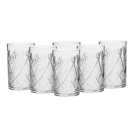Russian Collection SET of 6 x 8.5 oz. Traditional Cut Crystal Drinking Glasses, fits metal Glass Holder