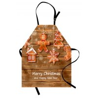 Gingerbread Man Apron Funny Watercolor Cookies on Wooden Boards Delicious Xmas Pastry, Unisex Kitchen Bib Apron with Adjustable Neck for Cooking Baking Gardening, Brown Orange White, by Ambesonne