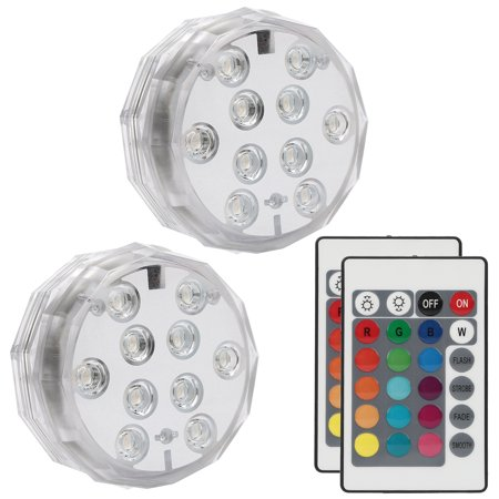 Underwater Submersible LED Lights Waterproof Multi Color Battery Operated Remote Control Wireless 10-LED lights for Hot Tub,Pond,Pool,Fountain,Waterfall,Aquarium,Party,Vase Base,Christmas,IP68 2pack (Led Underwater Base)
