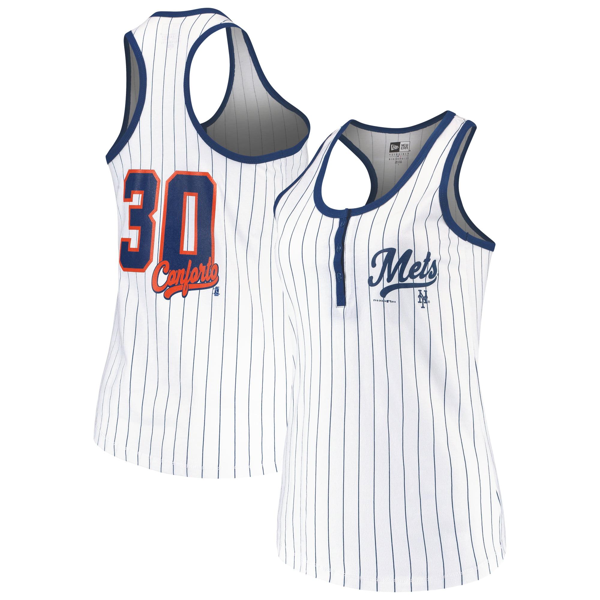 Michael Conforto New York Mets 5th & Ocean by New Era Women's Pinstripe Player Tank Top - White