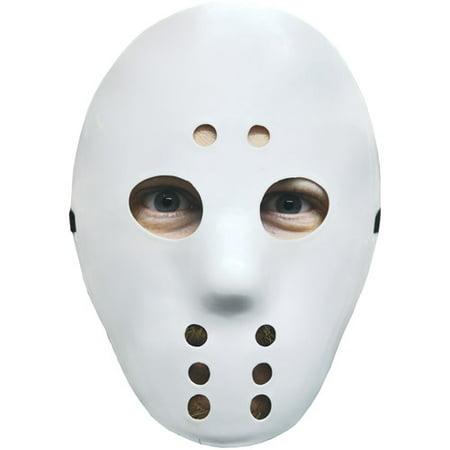 White Hockey Mask Adult Halloween Accessory](Hockey Players Halloween)