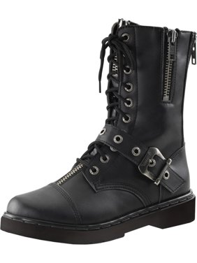 d0ad0700b2e Product Image Mens Combat Boots Black Vegan Leather Shoes Lace Up Buckle  Zipper 1 Inch Heel