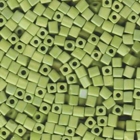 20 Grams Opaque Chartreuse Matte Ab Miyuki 4mm Square Cube Glass Seed, Loose Beads, (Square Cube Glass Beads)