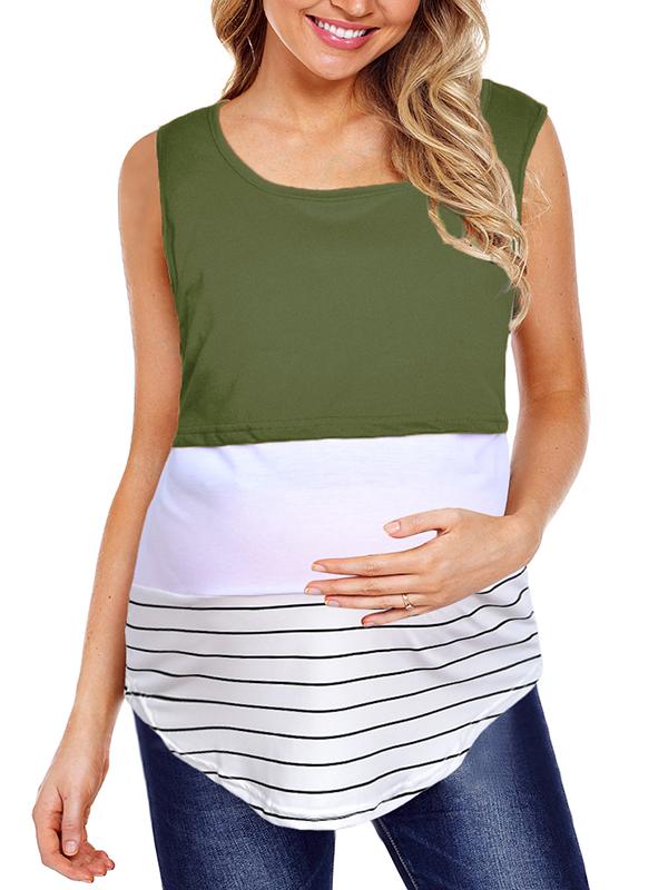 TINHAO Women's Maternity Striped Color Block Patchwork Layered Nursing Breastfeeding Tank Tops