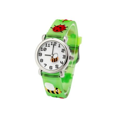 (Little bee )Girls Boy Kids Children's Waterproof 3D Cute Cartoon Digital Silicone Wristwatches Perfect Christmas birthday - Watch Halloween Cartoons Online