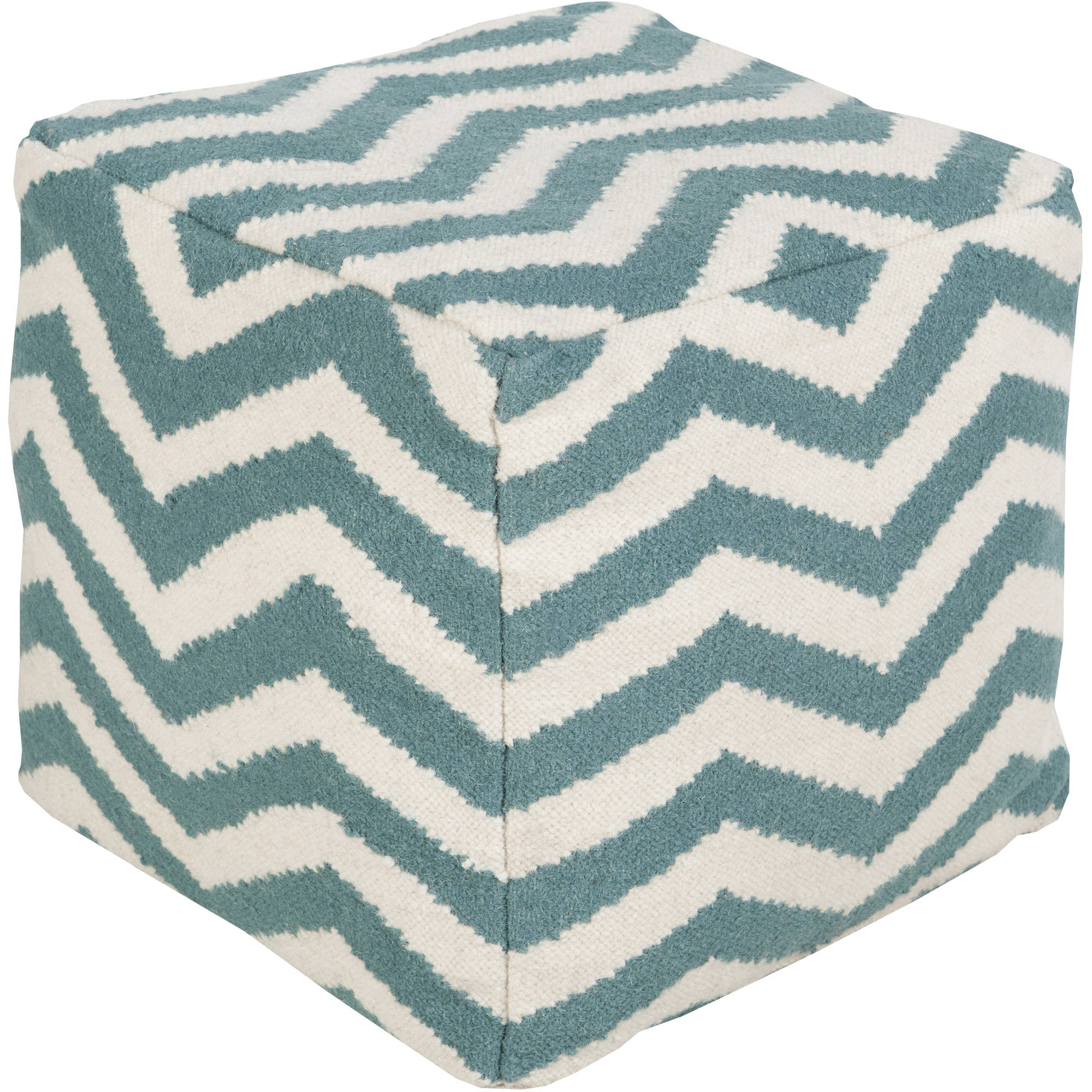 Libby Langdon Finley Hand Made Chevron Wool Pouf