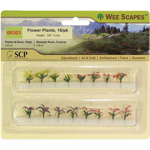 "SCP Flower Plants, 3/8"", 12/pkg, Red/Pink/Yellow/Purple"