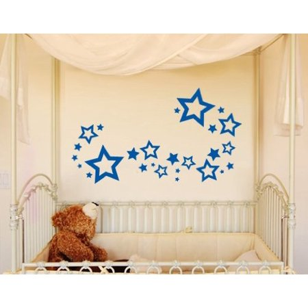 Stars Set Wall Decal - Wall Sticker, Vinyl Wall Art, Home Decor, Wall Mural - 2109 - 59in x 30in, Pastel orange