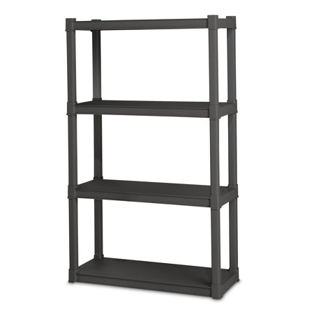 "Sterilite, 34.5""W x 14.375""D x 57""H 4 Shelf Unit, Flat Gray"
