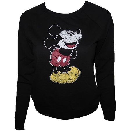 fd06e046c35 Mickey Mouse - Disney Mickey Standing Distress Print Women s Juniors  Lightweight Sweatshirts (SMALL) W48 - Walmart.com