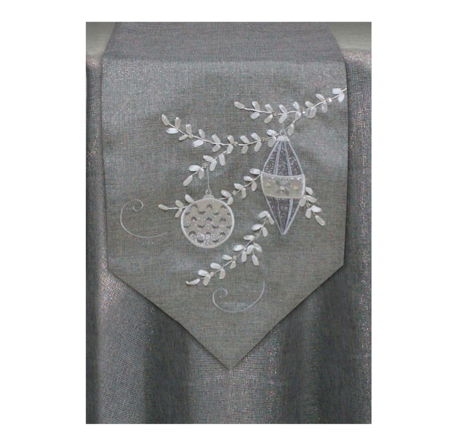 70 Winter Light Gray And Silver Metallic Ornament Branch Decorative Christmas Table Runner