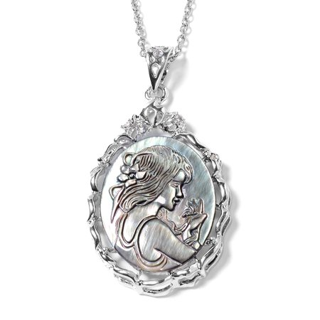Women's Silvertone Cameo White Crystal Pendant Necklace 20