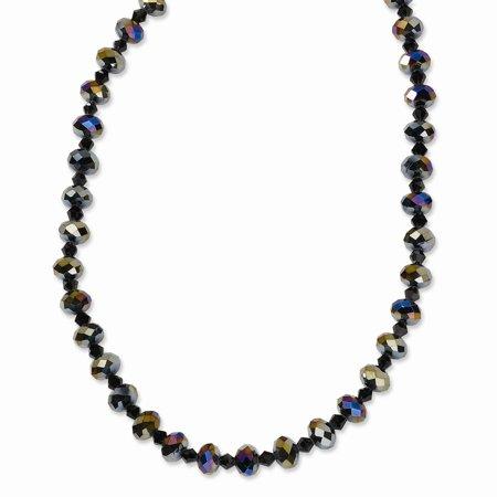 Black-plated Aurora Borealis Black Glass Beads 16