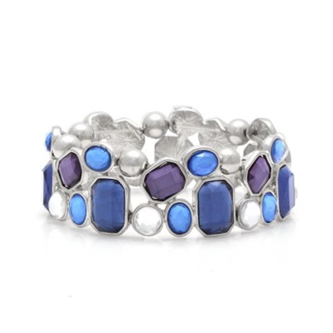 C Jewelry Silver-Tone Blue And White Stretch Bracelets