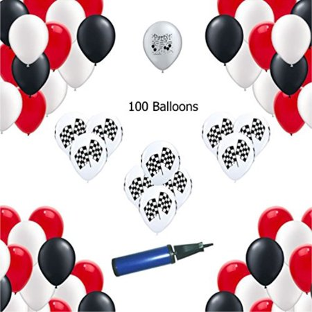 Cars Race Car Party - Red, White, Black - Race Car Party Balloons 100 - Balloon Cars