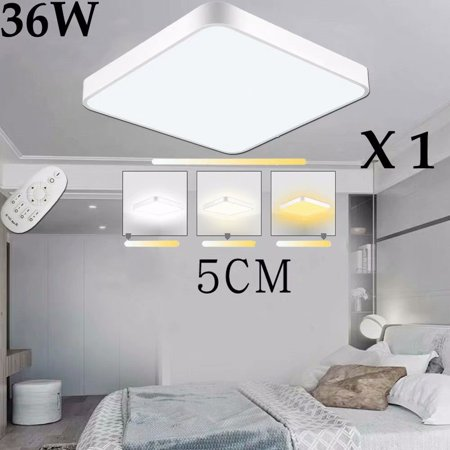 36W LED Square Ceiling Panel Light Down Lamp Kitchen Bathroom Flush Mount Panel Modern Fixture Remote (Modern Control Technology)