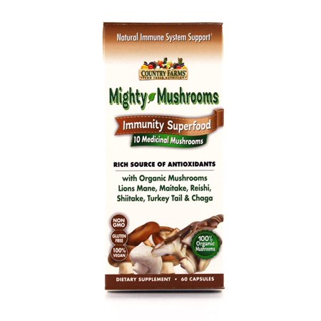 Country Farms Mighty Mushrooms Dietary Supplement, Immunity Superfood, Organic Mushrooms, 60 - Organic Tonic Mushrooms