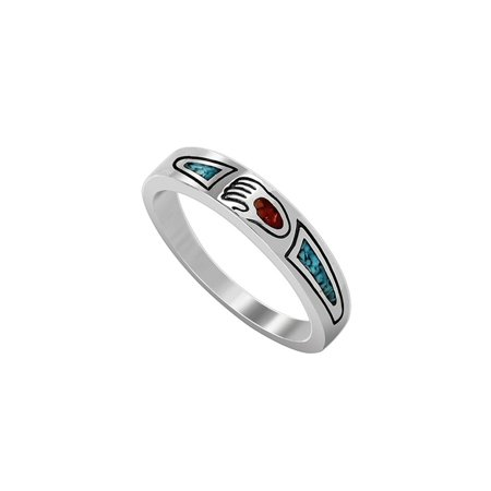- Gem Avenue 925 Sterling Silver Turquoise with Coral Paw Ring Gemstone Inlay Southwestern Style
