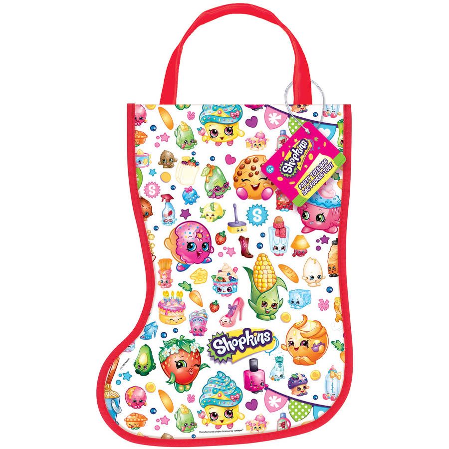 "Plastic Shopkins Christmas Stocking Favor Bag, 13"" x 9.5"""